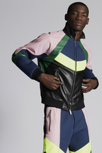 DSQUARED2 Leather Over-Sized Track Bomber Leather outerwear Man