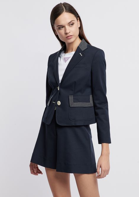 f66f1325c82d Single-breasted blazer in double stretch poplin with contrasting embroidery