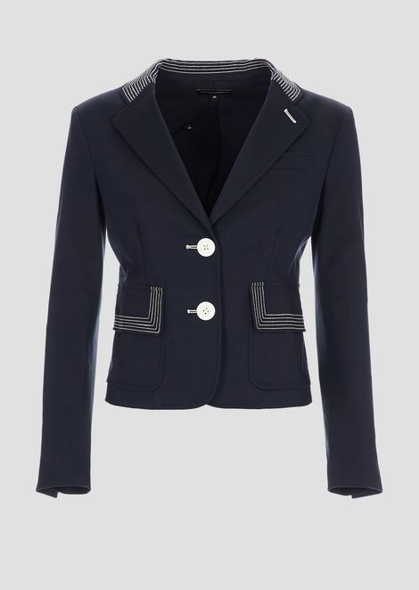 Single-breasted blazer in double stretch poplin with contrasting embroidery
