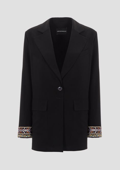single-breasted jacket in techno tricotine with beads embroidery on the hem