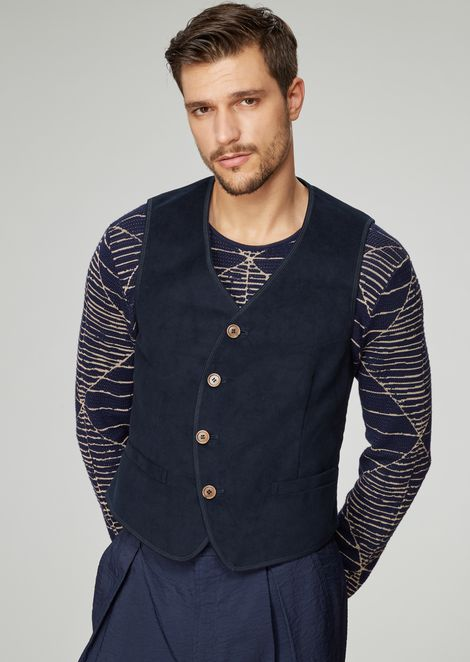 Single-breasted moleskin vest with rounded buttoning