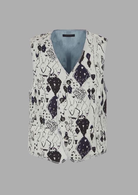 Garment-washed single-breasted vest in printed cupro twill