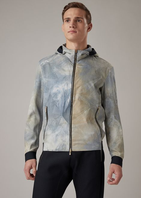 Silk gauze bomber jacket with screen printed pattern