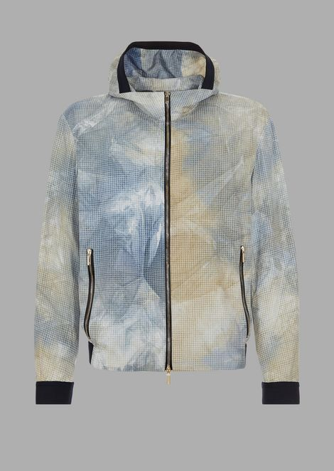Silk gauze bomber jacket with screen-printed pattern