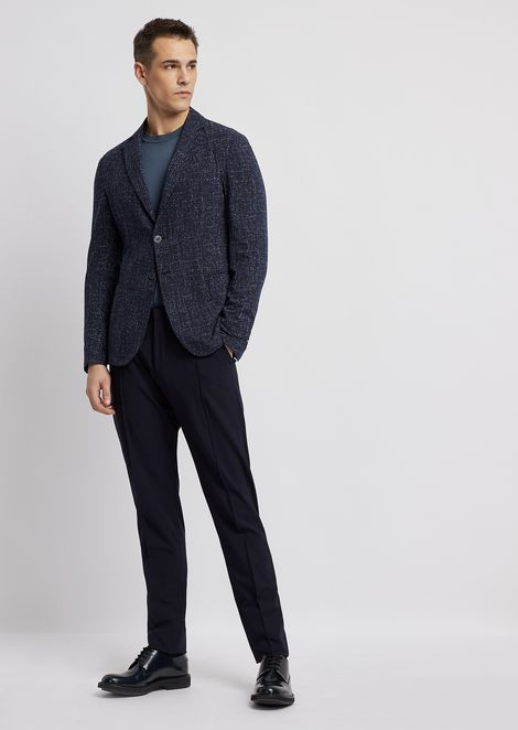 Single-breasted jacket in tweed print seersucker