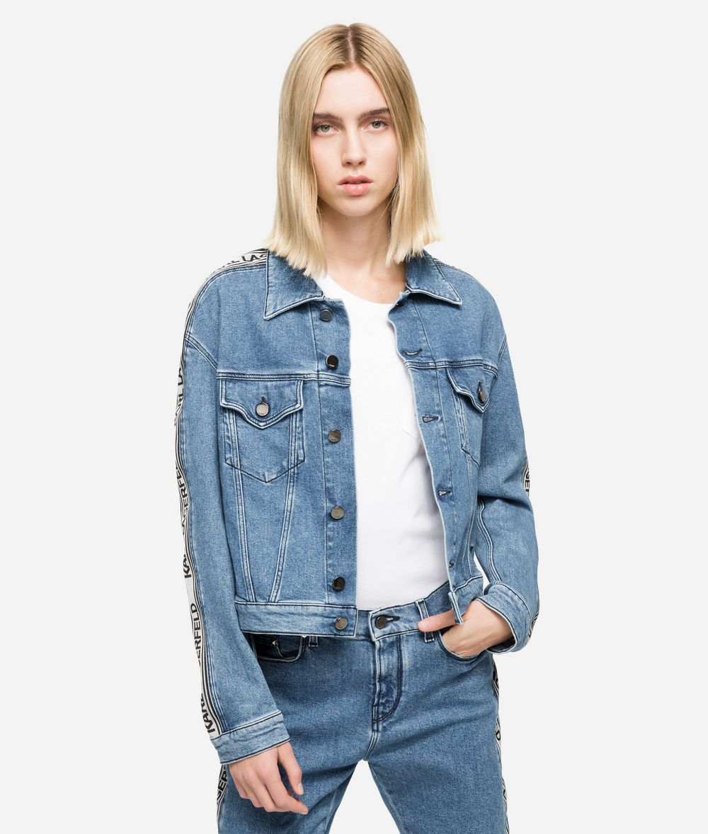KARL LAGERFELD Logo Tape Denim Jacket Jacket Woman f