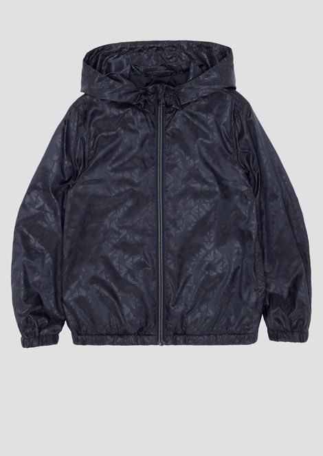 Hooded waterproof blouson in all-over logoed fabric