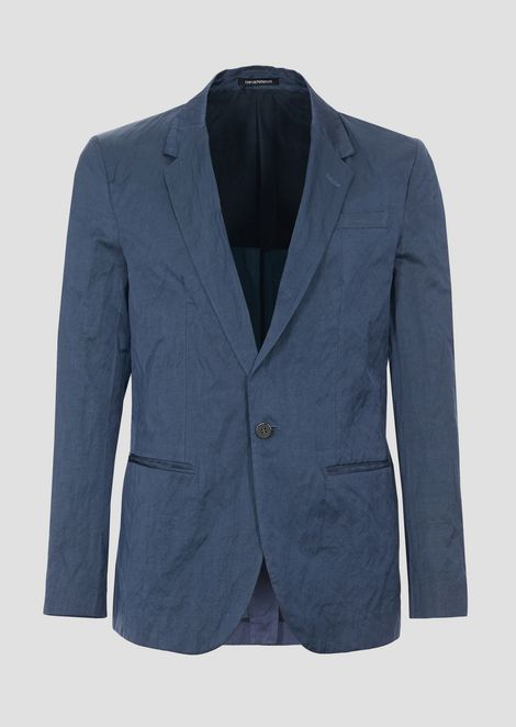 Single-breasted jacket in viscose and crinkle cotton