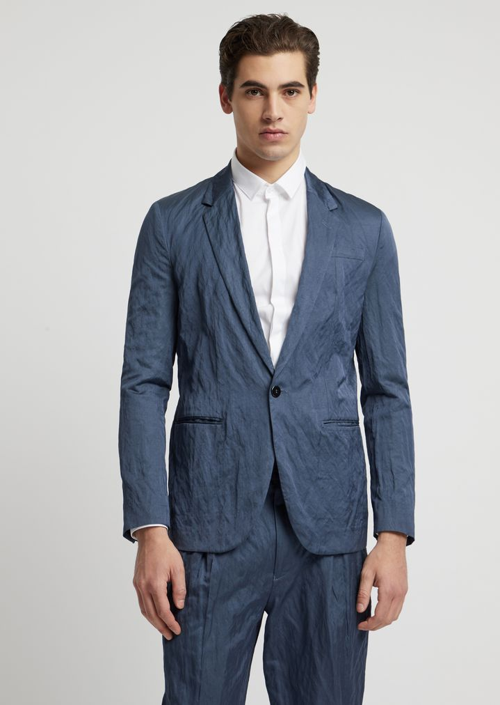 43dc5a6cf9 Single-breasted blazer in viscose and crinkle cotton