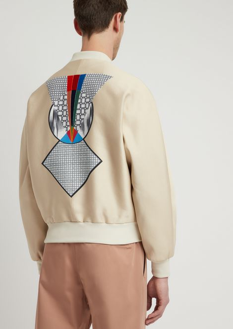Acetate cotton bomber jacket with graphic embroidery on the back