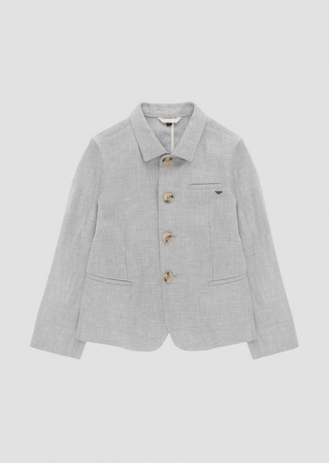 Single-breasted blazer in flax linen