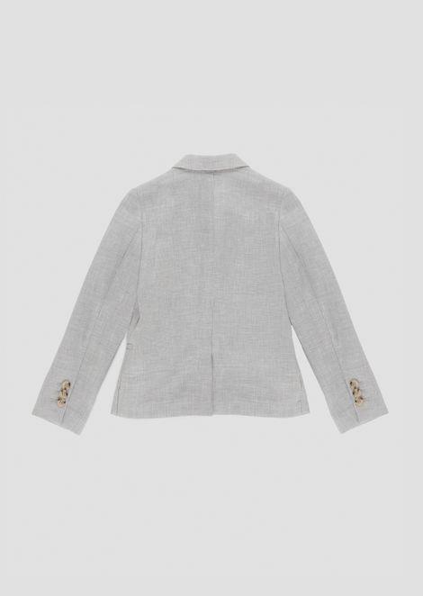 Giacca monopetto in tela di lino