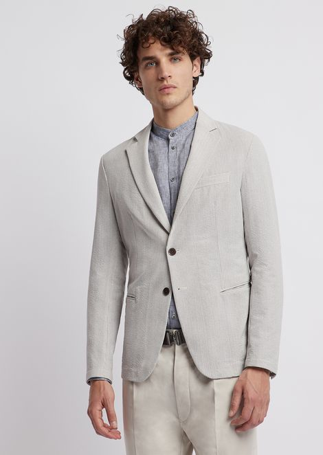 Single-breasted blazer in fine stripe-print seersucker