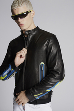 DSQUARED2 Leather Biker Jacket With Sport Zip Details Leather outerwear Man