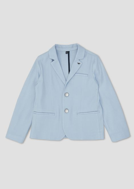 Pure linen single-breasted jacket