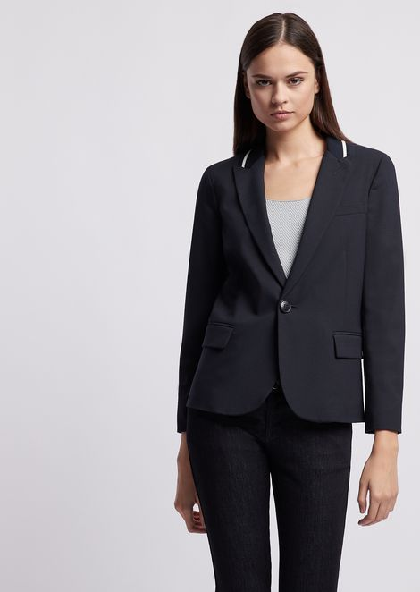 Single-breasted blazer in poly canvas with contrasting detail
