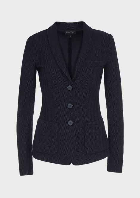 シングルブレストジャケット ジャカードジャージー製 シェブロンデザイン
