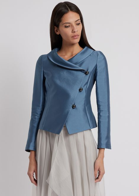 Jacket in silk and cotton radzimir with diagonal buttoning
