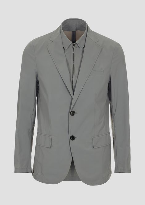 Single-breasted jacket with removable under-jacket in super-light nylon