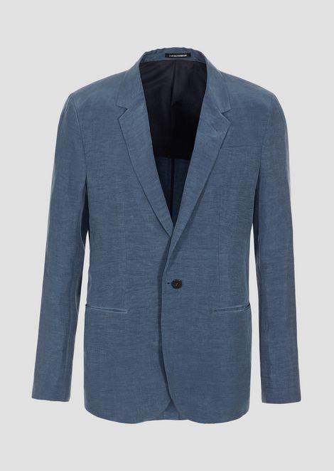 Single-breasted jacket in cupro linen