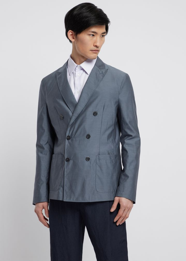 cf045f976d Double-breasted jacket in water-repellent silk and wool