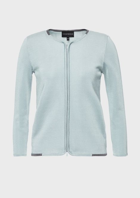 Lightweight jacket in stretch fabric with zip and contrasting details
