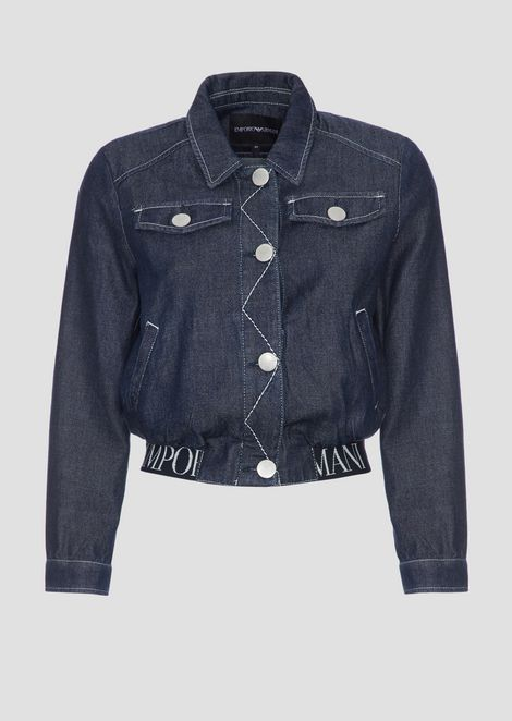 Denim jacket with stretch logo band