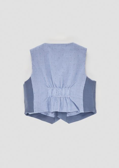 Cotton vest with needlecord fabric on the back