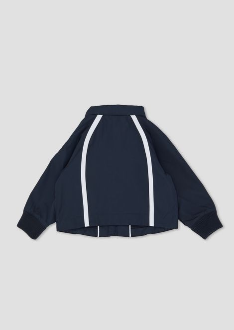 Tech fabric jacket with contrasting bands