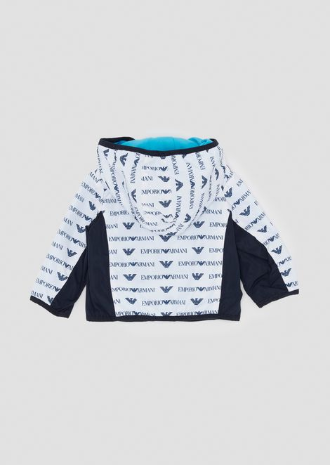 Jacket in fabric with all-over logo pattern and hood