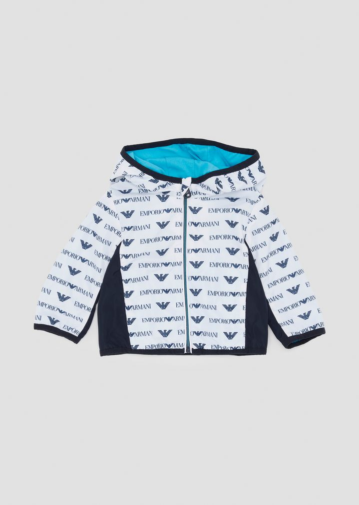 e52d296602 Jacket in fabric with all-over logo pattern and hood