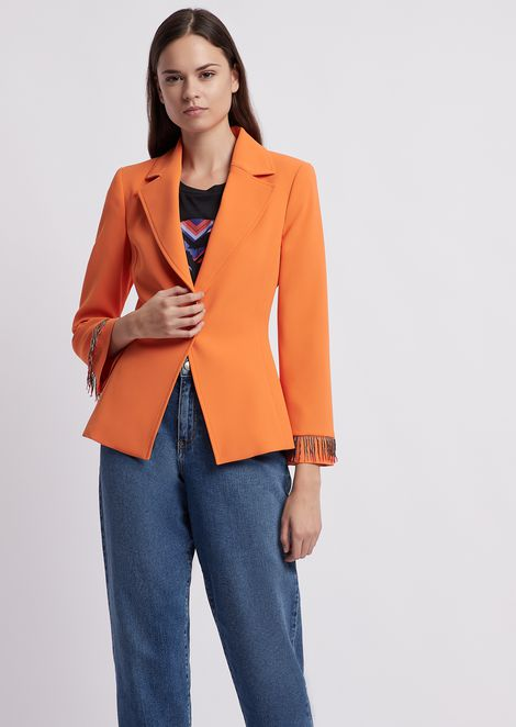 Single-breasted blazer in techno crêpe cady with beaded fringe cuffs