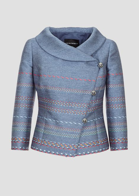 Multicolor jacquard jacket with diagonal buttoning
