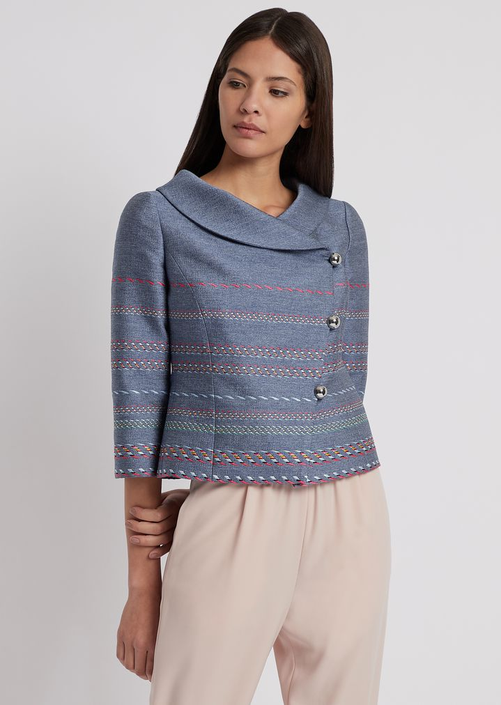 9bcd259d43 Multicolor jacquard jacket with diagonal buttoning