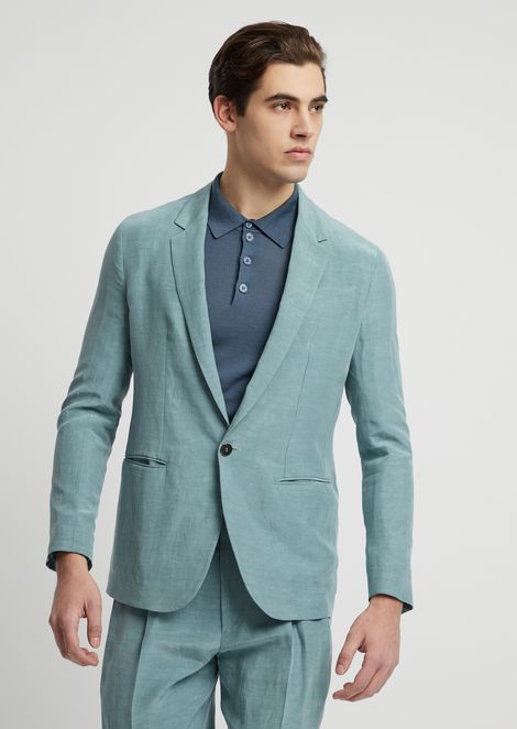 Single-breasted jacket in cupro linen