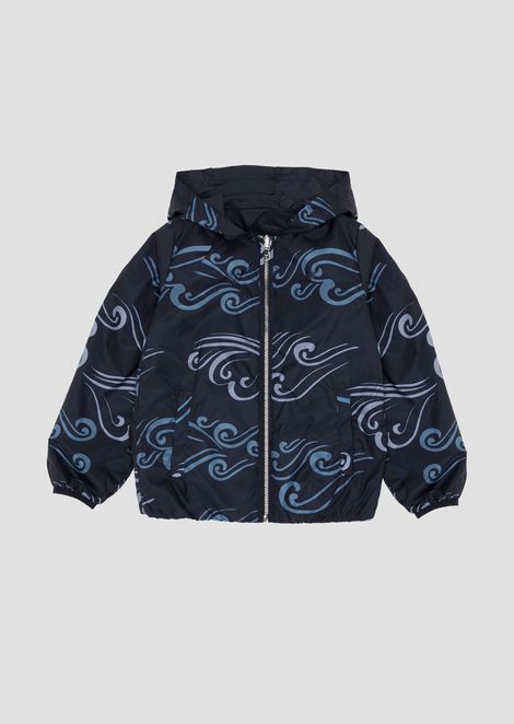 Jacket with hood in Blue Waves pattern fabric