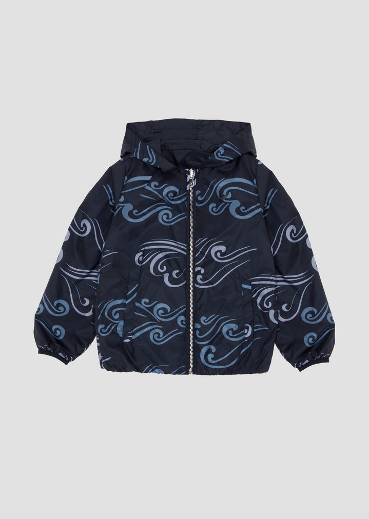 sneakers for cheap 96574 a8bbc Giubbotto con cappuccio in tessuto a fantasia Blue Waves