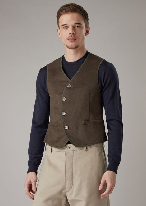 Cotton moleskin vest with rounded button fastening