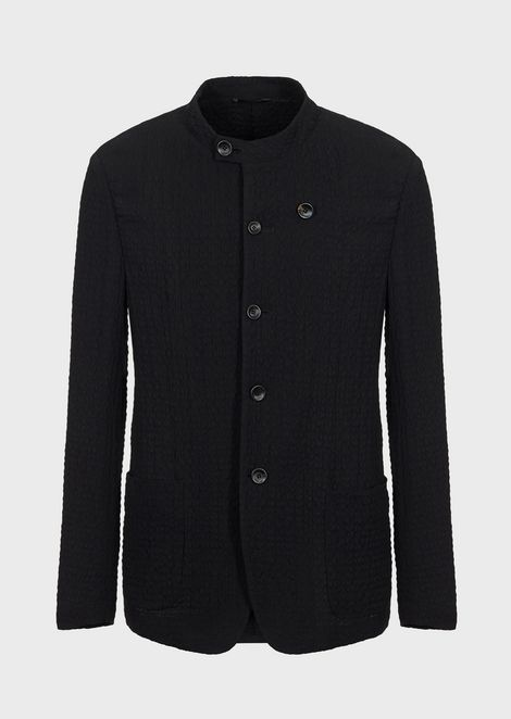 Deconstructed single-breasted jacket in seersucker fabric
