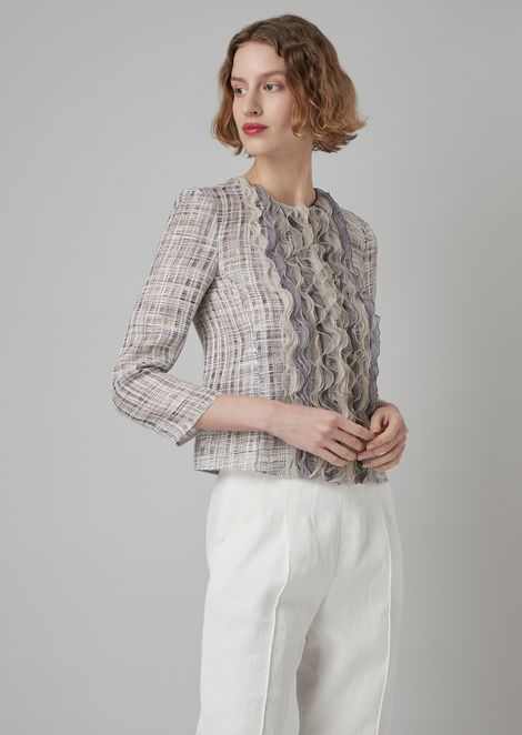 Canvassed jacket in patterned silk organza with a series of ruffles