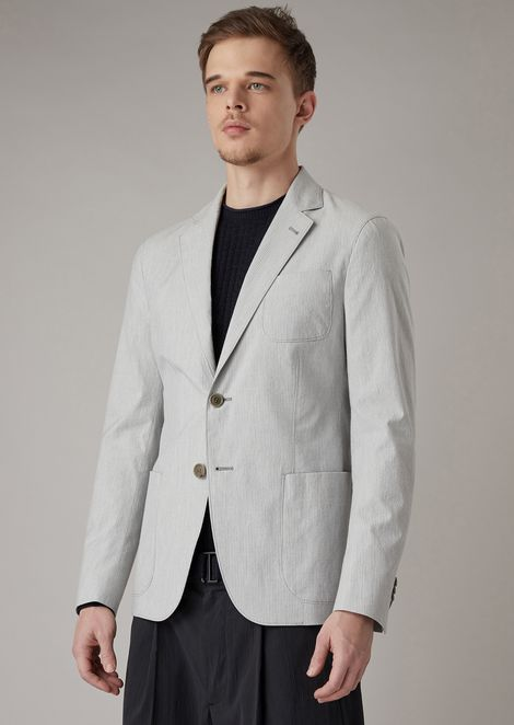 Regular-fit Upton line deconstructed jacket in finely striped cotton seersucker