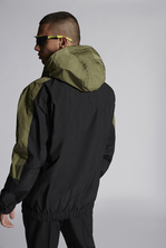 DSQUARED2 Nylon Oversize Hooded Bomber With Neon Sport Stripe Detail Mid-length jacket Man