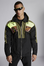 DSQUARED2 Nylon Oversize Hooded Bomber With Neon Sport Stripe Detail Полупальто Для Мужчин