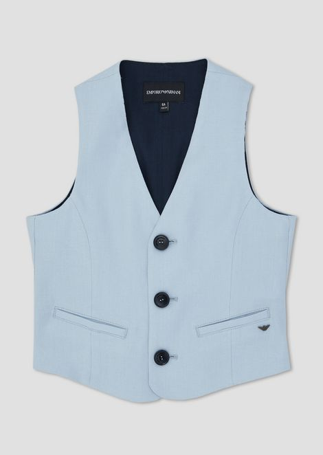 Pure linen single-breasted gilet