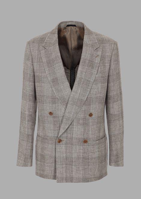 Double-breasted heritage jacket in tartan basketweave jaspé fabric