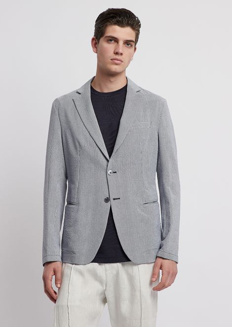 Single-breasted jacket in fine-stripe printed seersucker
