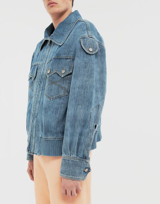 MAISON MARGIELA Bleached indigo denim sportsjacket Coat [*** pickupInStoreShippingNotGuaranteed_info ***] a