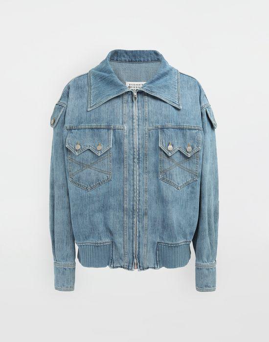 MAISON MARGIELA Bleached indigo denim sportsjacket Coat [*** pickupInStoreShippingNotGuaranteed_info ***] f