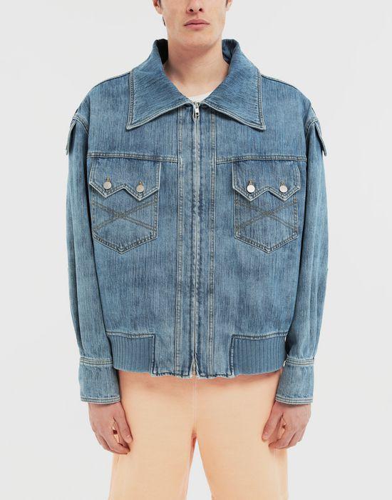 MAISON MARGIELA Bleached indigo denim sportsjacket Coat [*** pickupInStoreShippingNotGuaranteed_info ***] r