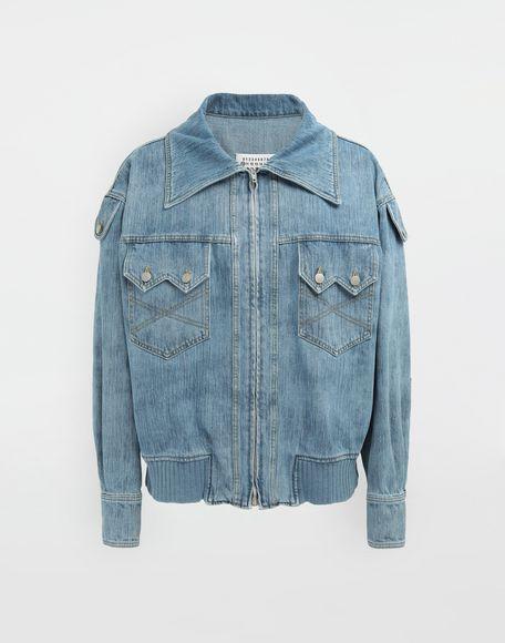 MAISON MARGIELA Bleached indigo denim sports jacket Coats and Trenches Man f